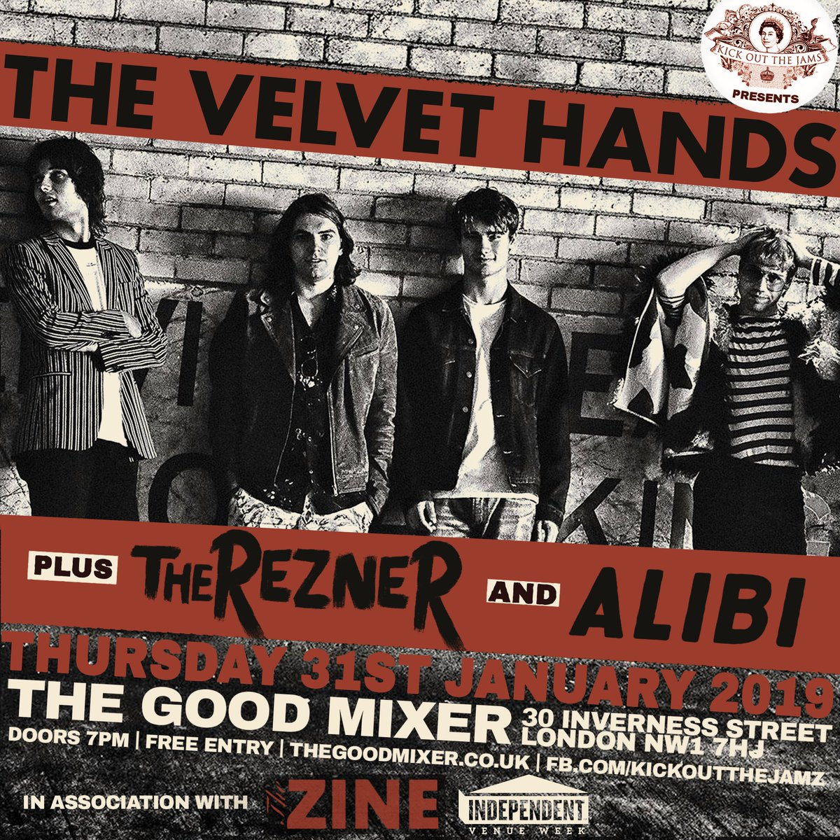 Weve added a banging extra show on Jan 31st at @goodmixerpub as part of @IVW_UK feat. @thevelvethands1 @TheRezner & @alibihastings in assoc. with @thezineuk Entry £2 on the door with all money going to @MAH_Gigs