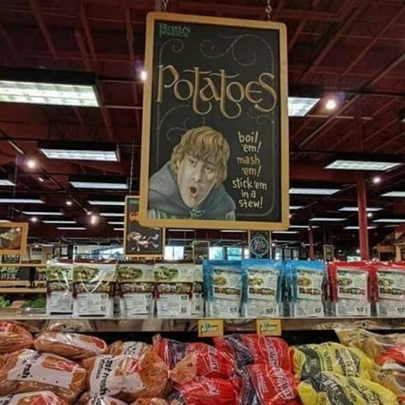 I dont know what local store TOOK this, SAM GOES TO MARKET' Sign, PHOTO, but I really want to OFFER AUTOGRAPHED COPIES OF IT AS A REWARD on my Environmental (Vegetable & Po-Tay-Toe friendly) Campaign!!!! Will the Photographer & Store DM me, to make sure y'all don't mind...
