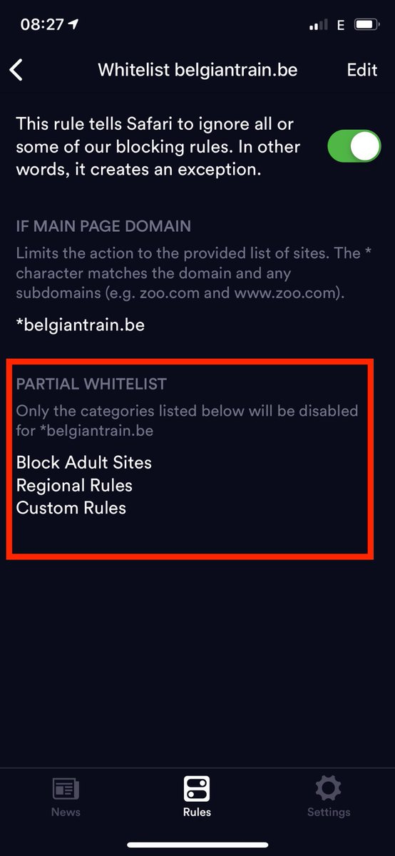 whitelist site in safari