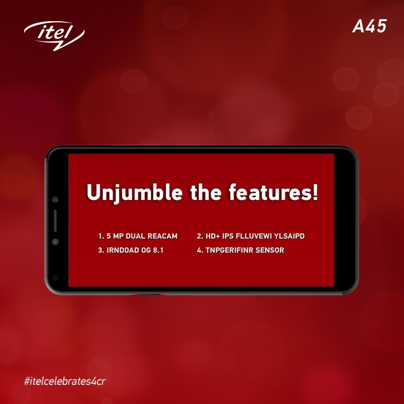 Unjumble the words and discover all the amazing features that itel A45 has! Comment below your answers! #itelFridayHaiWonderful