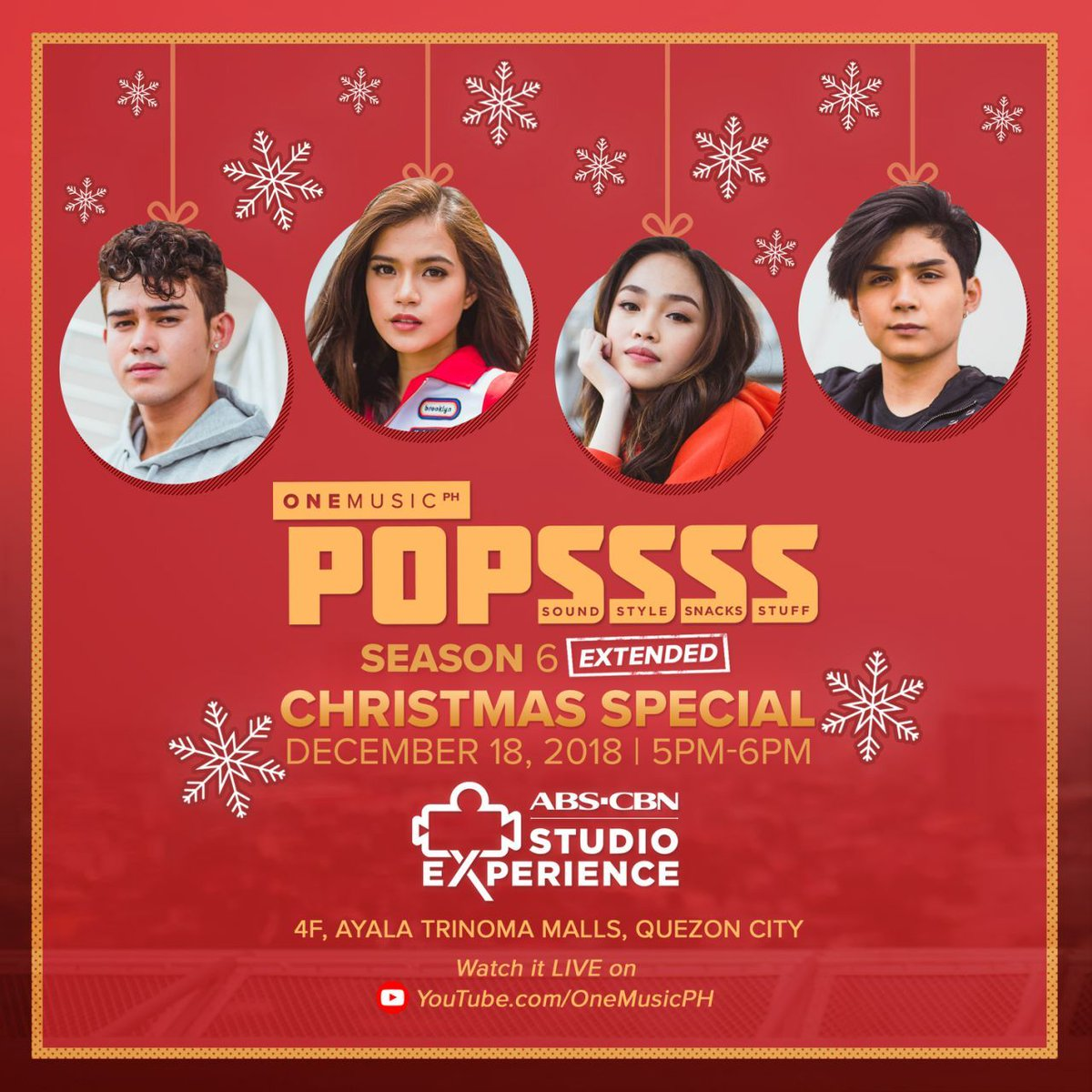Catch the #POPSSSSSquad for the last time this year because were extending #POPSSSS6! Be part of the LIVE audience on December 18 at the ABS-CBN Studio Experience, or watch it LIVE on the One Music PH YouTube channel! Maligayang #POPSSSSKO2018!