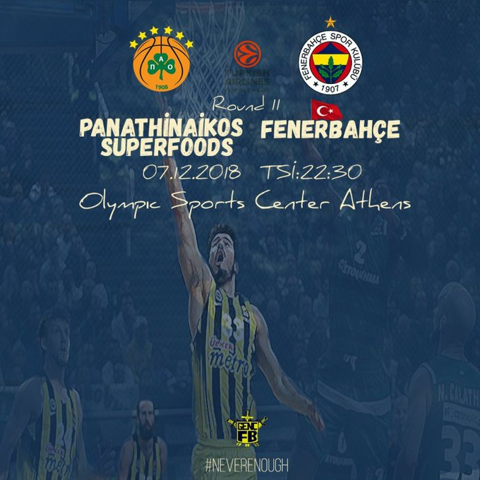 🔥 Maç günü! 🏆 @EuroLeague 🆚 Panathinaikos 📍 OAKA ⌚️ 22:30 📺 beIN Sports 3 📱 #NeverEnough #FenerinMaçıVar BAŞARILAR DÜNYANIN EN GÜZEL TAKIMI! 💪 Fotoğraf