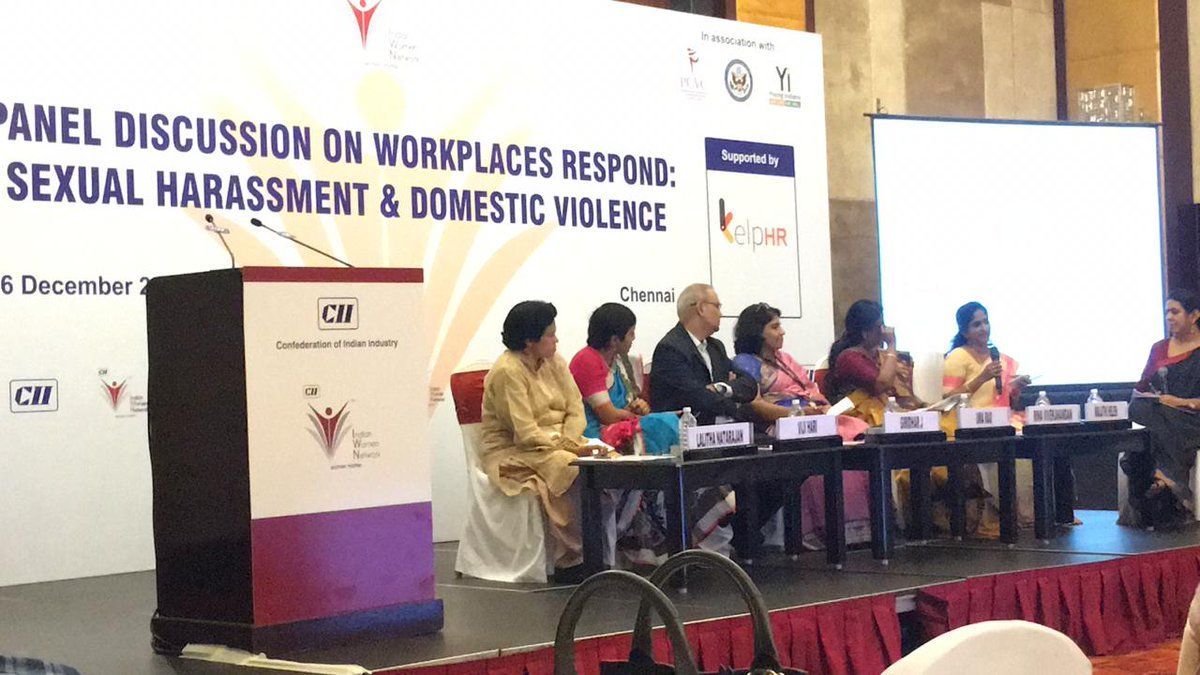 Women were advised to report Workplace Harassment cases on http://www.shebox.nic.in/ & were also encouraged to contact #WomenHelpline181 & #OneStopCentre in distress situations. HR Managers were asked to comply with the Law and set up ICC at Workplace. /2
