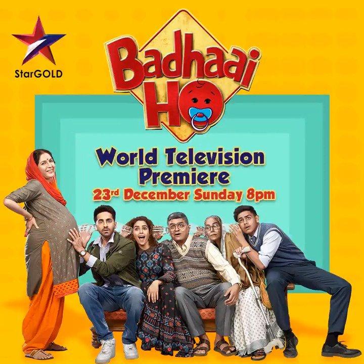 Everybody's eager to meet the mehman! Watch the World Television Premiere of #BadhaaiHoOnStarGold on Sunday, 23rd December at 8 PM. @iAmitRSharma @ayushmannk #NeenaGupta #GajrajRao #SanyaMalhotra #SheebaChaddha #SurekhaSikri #ShardulRana @JungleePictures