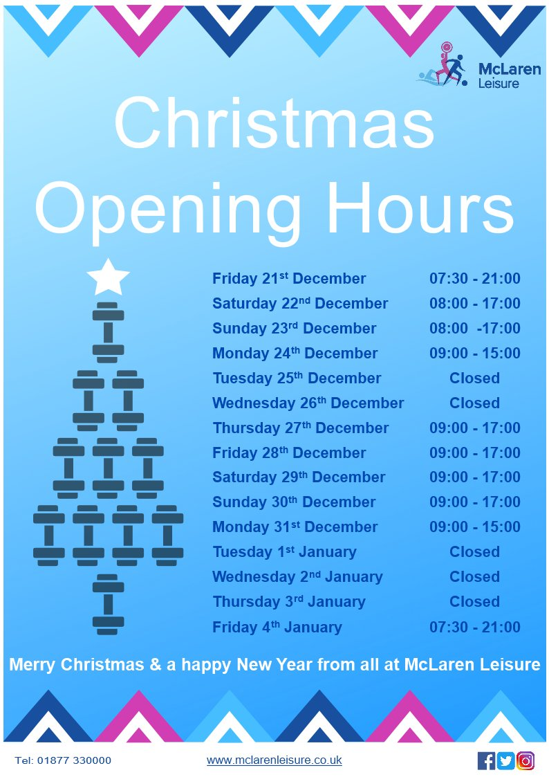 See below for our #Christmas opening hours #Callander #sport #leisure 🎅🎄🎁 https://t.co/ofzcGy10kM