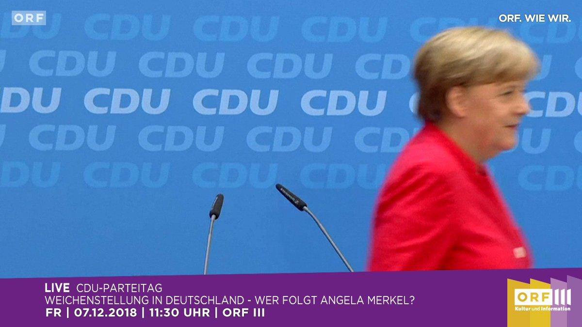 Orf على تويتر Weichenstellung In Deutschland Wer Folgt Angela Merkel Ab 11 30h Ubertragt Orfdrei Live Vom Cdu Parteitag Merkels Letzte Rede Als Parteivorsitzende Ab 14 55h Geht Es In Orf3 Mit Der Vorstellung