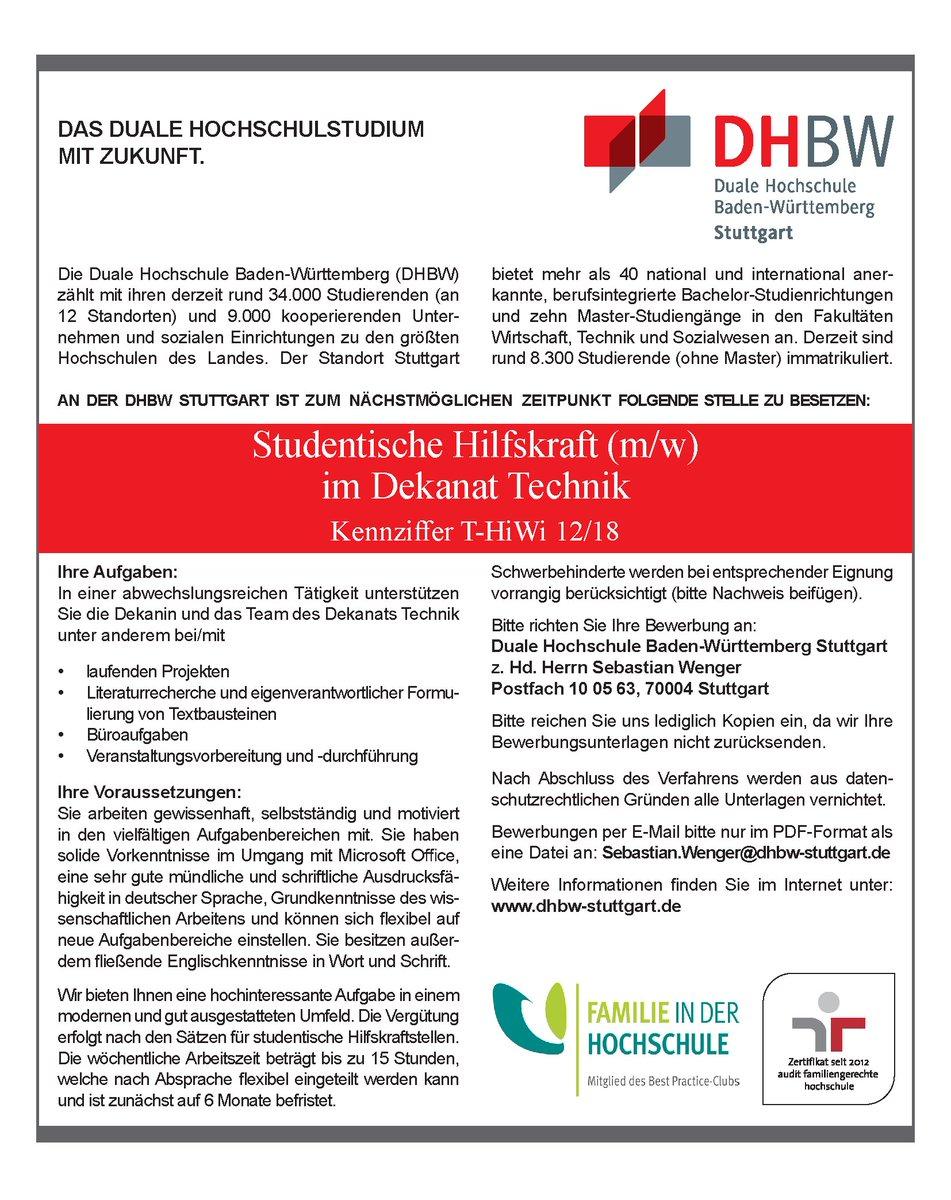 Dhbw Stuttgart On Twitter Für Das Dekanat Technik Der Dhbw