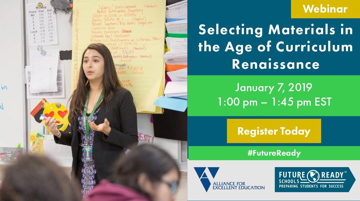 Hey #bfc530, I'm stoked to share the remarkable changes in the curriculum space in this Jan 7 #FutureReady webinar!  Join @edukings and I for a rich talk about the Curriculum Renaissance:   https:// all4ed.org/webinar-event/ selecting-materials-in-the-age-of-curriculum-renaissance/ &nbsp; …  #dplis #satchat #leadupchat<br>http://pic.twitter.com/hvhEhq7TVA