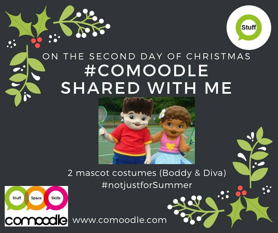 #12DAYSOFCOMOODLE: DAY 2  2 MASCOT COSTUMES Meet #Boddy & #Diva? Do u need #giants 4 a #panto? Helpers 4 #Santa? Or #mascots 4 an #event or #photoopp? & do u have other #costumes to #share or #hire out? Take a look: https://www.comoodle.com/resources/563 #notjustforSummer #stuffpic.twitter.com/bqRCAAklRV