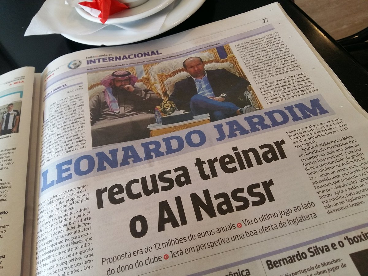 According to today&#39;s @abolapt, Leonardo Jardim has turned down an annual salary of €12 million in Saudi Arabia because he has an EPL offer in the pipeline. Get guessing. <br>http://pic.twitter.com/mc6OCuRG5Z