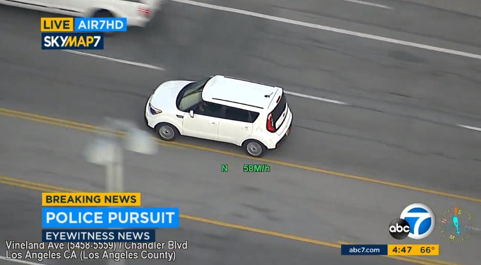 Suspects In White Kia Soul Traveling 60 70 Mph On Surface Streets North Hollywood Ping Red Lights Driving Wrong Direction Scoopnest