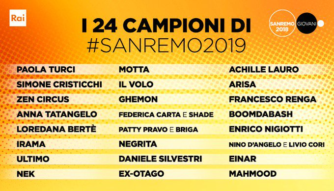 Italy The Final List Of The 24 Sanremo Festival 2019 Contestants