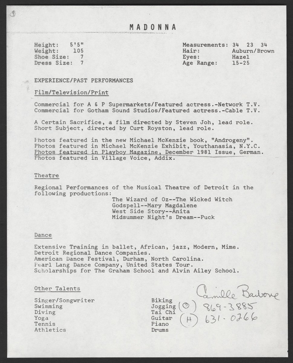 Madonna Scrapbook On Twitter Madonna S 1982 Resume Before
