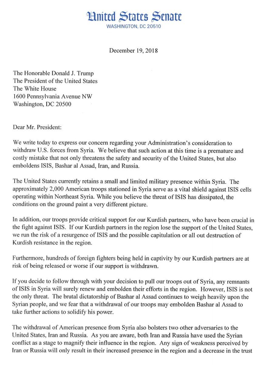 lindsey graham on twitter letter from senatorshaheen marcorubio sentomcotton senangusking senjoniernst and me to president trump on withdrawal from