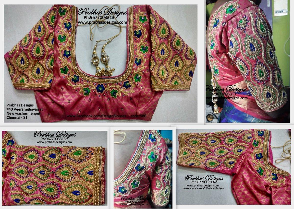7ef7abc7ef937 CODE 580 Gorgeous Flower Designed Aari Embroidery Designer Blouse. Full sleeve  work designed by Prabhas Designs.