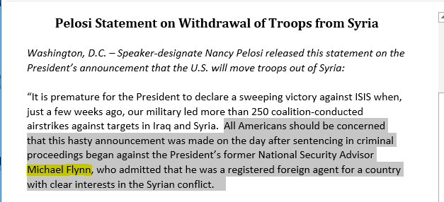 Pelosi goes there on President Trump's surprise announcement of a US military withdrawal from Syria