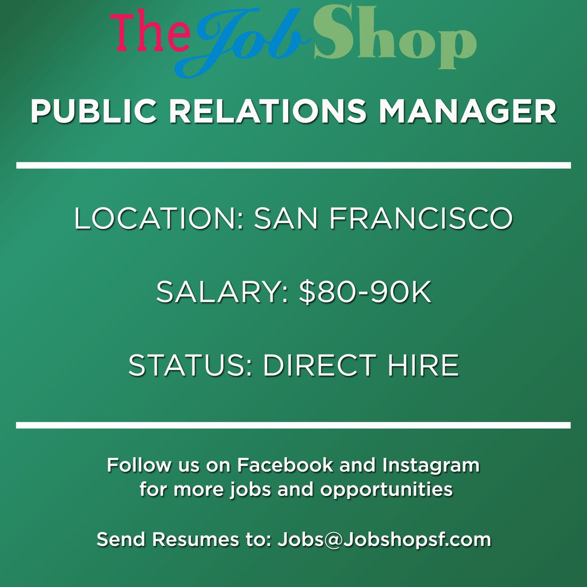 The Job Shop on Twitter: