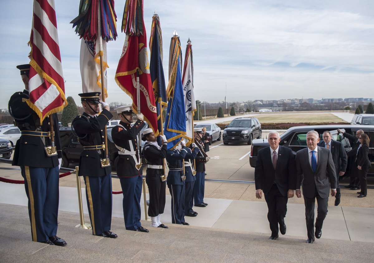 #SecDef Mattis met with @VP today at the #Pentagon to discuss our military's assets in #space and #cyberspace.