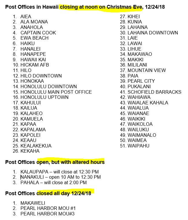 Are Post Offices Open On Christmas Eve.Usps News Honolulu On Twitter 51 Usps Post Offices In