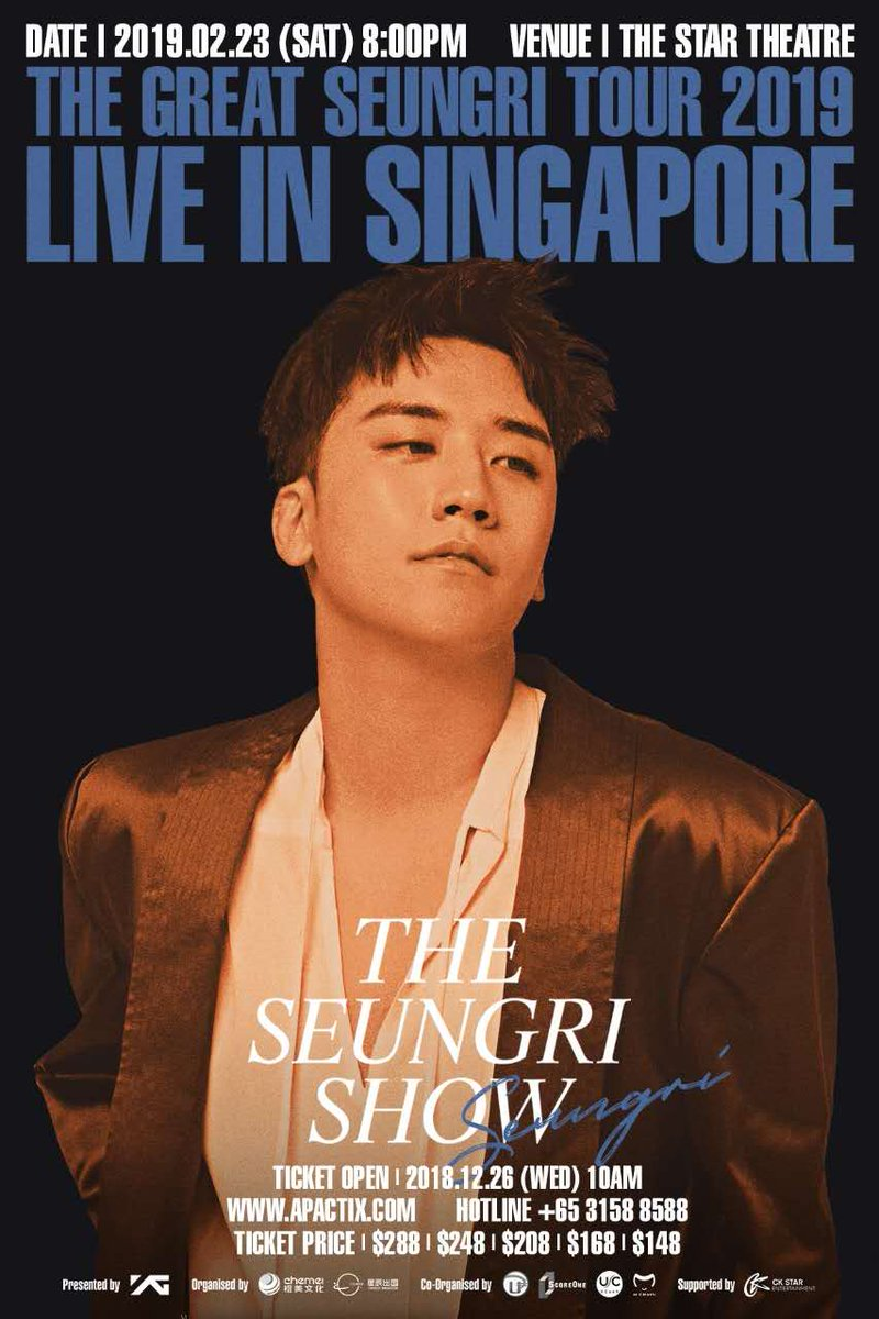 🔊 ATTENTION, SINGAPORE!    We are proud to announce ~THE #SEUNGRI SHOW~ is coming to Singapore!  THE GREAT SEUNGRI TOUR 2019 LIVE IN SINGAPORE ~THE SEUNGRI SHOW~ Just count 1, 2, 3, see you soon! 🙌  ▶ More Info: https://www.facebook.com/369439379845434/posts/1786329278156430/…  #승리 #THE_SEUNGRI_SHOW #SINGAPORE #YG