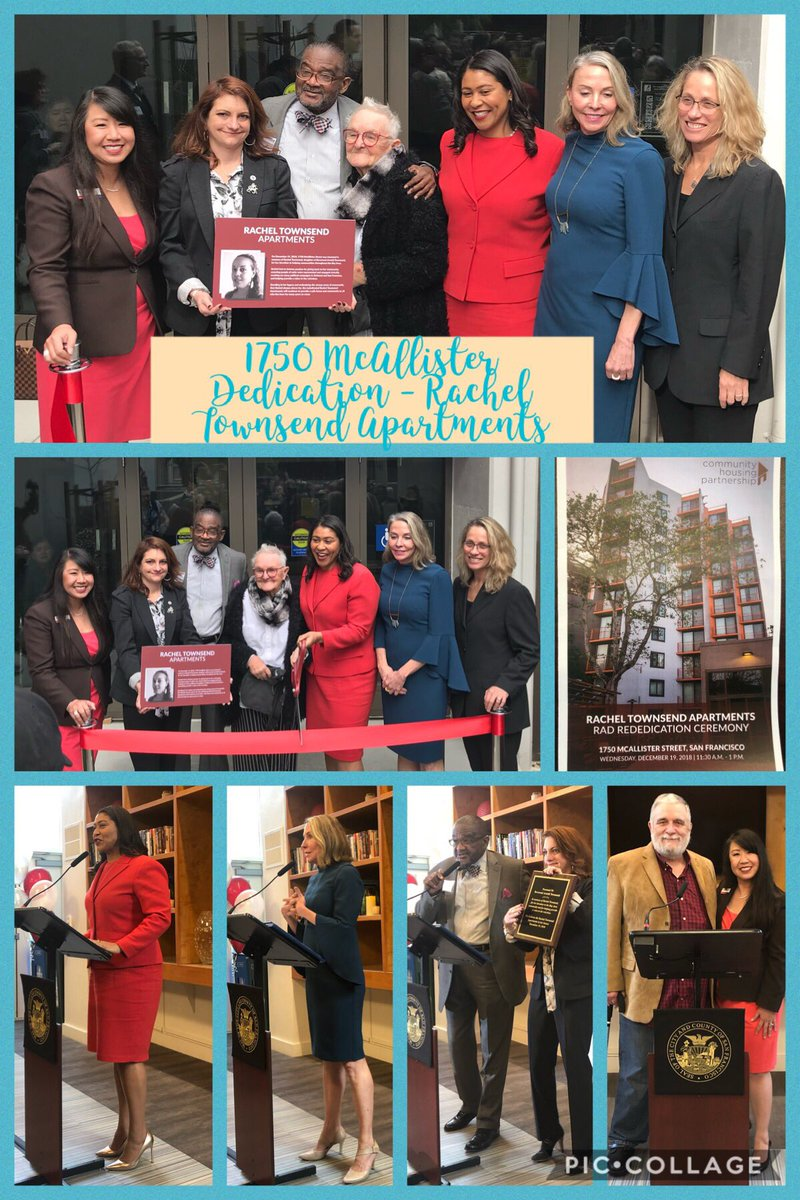 So inspired by the #1750McAllister residents, @CHP_SF CEO @gailgilmanSF & team, @FineLineConst, Mayor @LondonBreed, Supervisor @VallieBrownD5 & Rev Townsend at today's #RachelTownsendApts dedication. @BankofAmerica proud to support the transformation of public housing thru #SFRAD