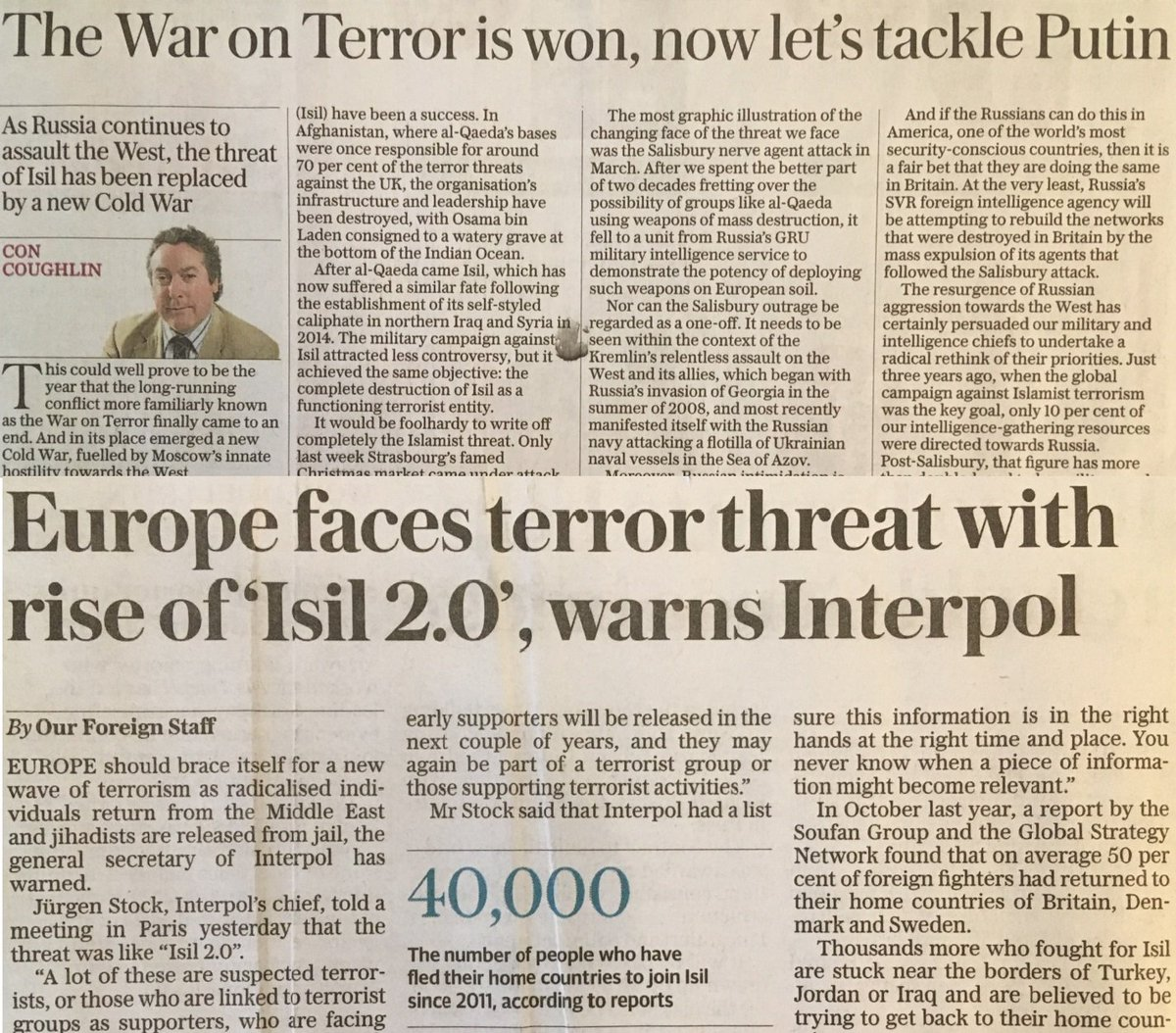 War on Terror is won AND lost in single edition of the Daily Telegraph
