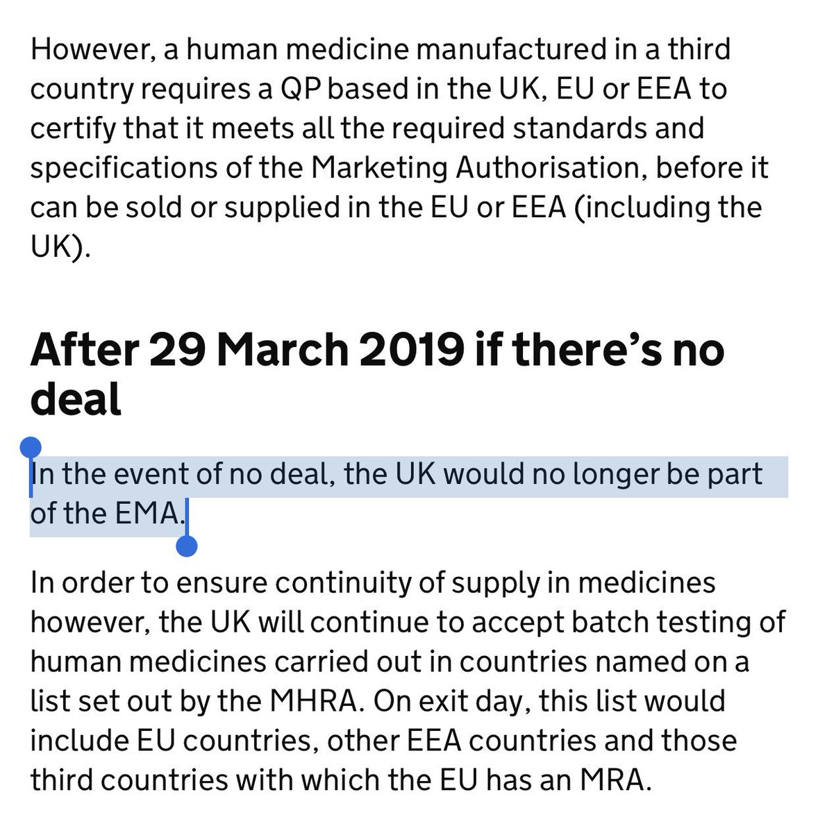 """No Deal no longer """"unlikely"""" - Government  Government has in past 24 hours quietly edited every No Deal technical notice to take out word """"unlikely"""" from the sentence """"in the unlikely event of no deal...""""  Now says """"in the event of no deal"""".   See before and after on medicines👇🏾"""