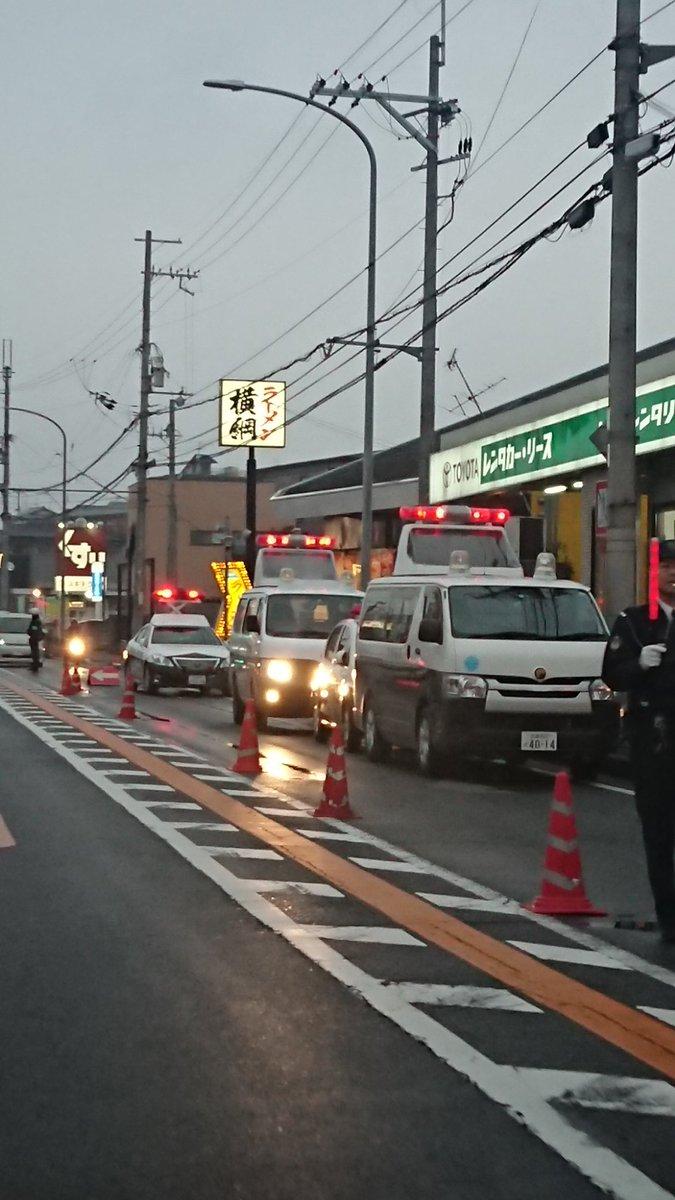 京都外環状線で原付きとトラックの事故の現場画像