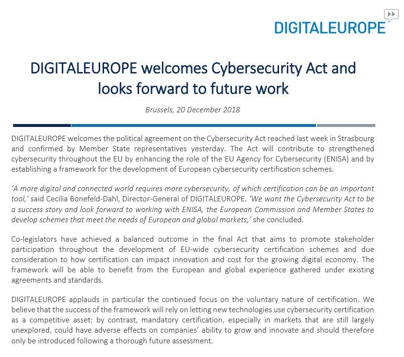 More On Adverse Developmental Impacts >> Digitaleurope On Twitter Digitaleurope Welcomes Cybersecurityact