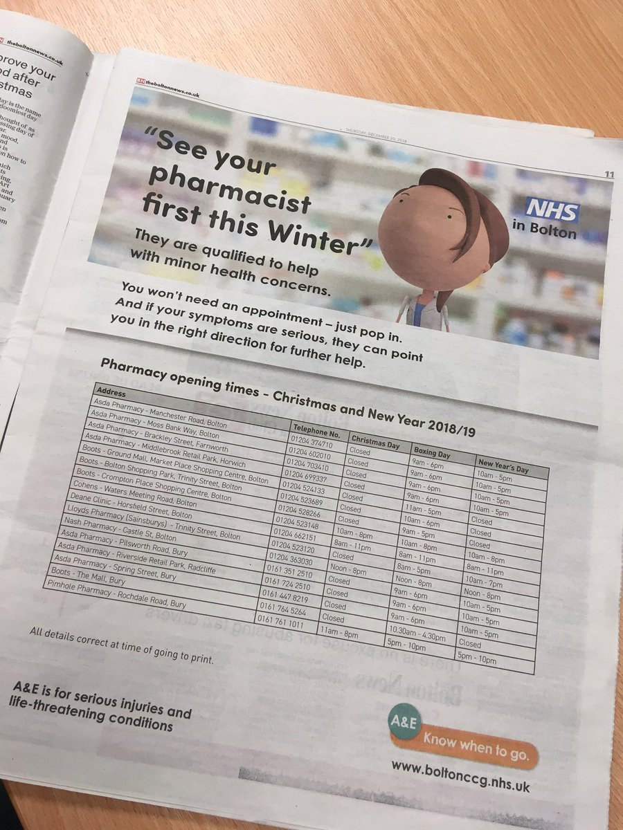 Pharmacy Open Christmas Day.Bolton Ccg On Twitter Cut Out Keep In Today S