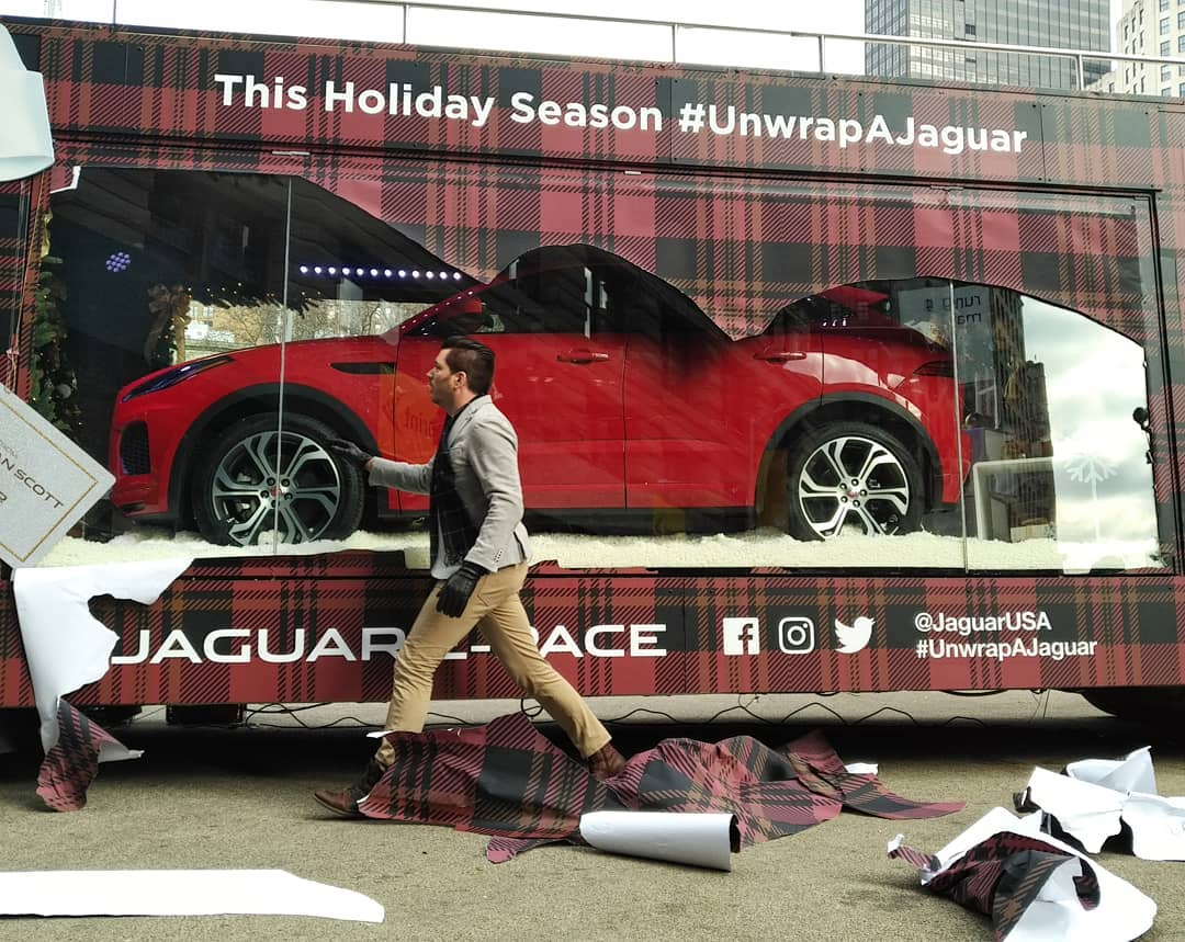 """Welcome to a """"NYC Holidays"""" #unwrapajaguar #PropertyBrothers http://www.unnamedproject.com/featured/jonathan-scotts-mobile-holiday-window-featuring-the-jaguar-e-pace-suv/…  @MrSilverScott #unwrapajaguar @jaguarusa #Jaguar @InteractiveJag @Jaguar #jonathanscott @JSSIsMine #stylehim #holiday2018"""
