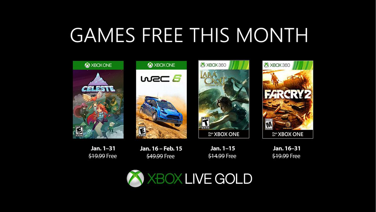 January GWG lineup: XBO: Celeste, WRC 6 X360: Lara Croft: Guardian of Light, Far Cry 2 https://t.co/HsbLbgU3Ao