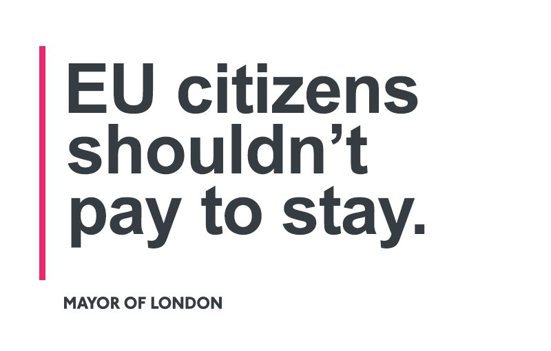 London's one million EU citizens are our friends, our neighbours and our colleagues. They are welcome here - and they should not be forced to pay to stay in our city. We'll pay for all EU staff in the GLA group to obtain 'settled status'. https://www.london.gov.uk/press-releases/mayoral/mayor-to-pay-for-eu-staff-to-stay-after-brexit…