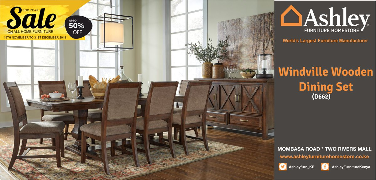 Ashley Furniture Homestore Kenya On Twitter The Windville Dining Room Set Invites You To Gather Round In Rustically Refined Style The Dining Room Extension Table Brings Home Modern Farmhouse Design With So