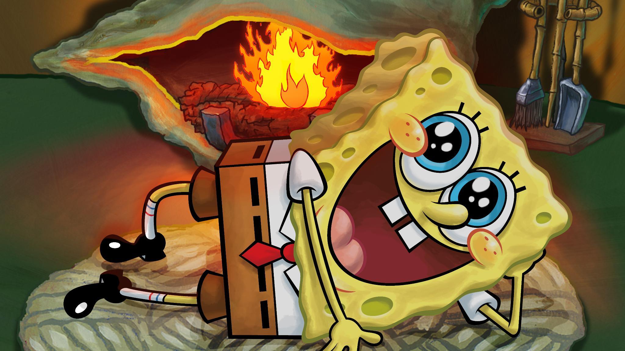 Spongebob Hd Wallpaper Fire
