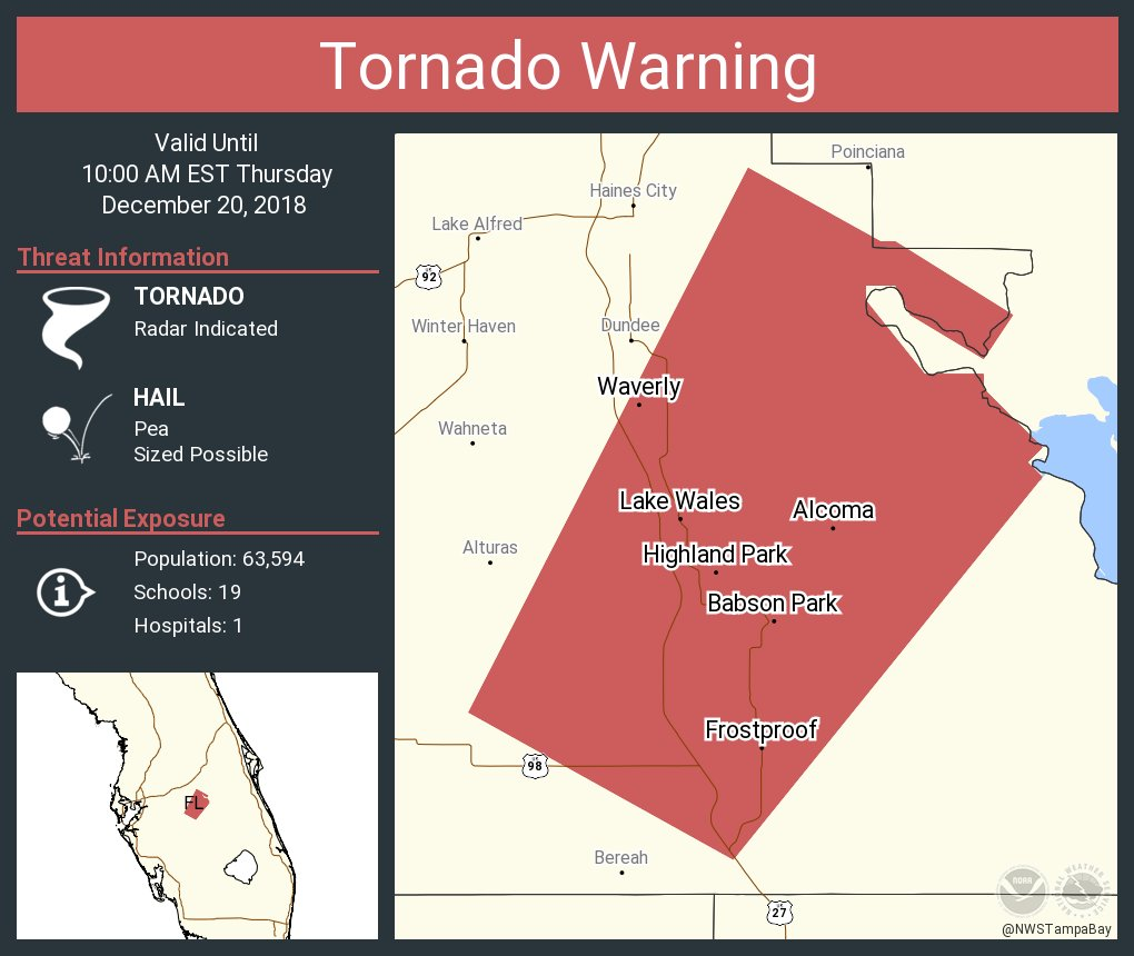 Frost Proof Florida Map.Nws Tampa Bay On Twitter Tornado Warning Including Lake Wales Fl