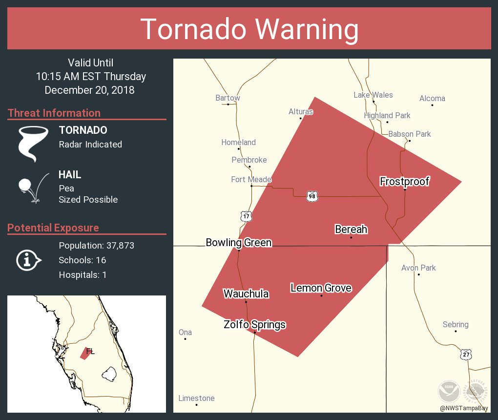 Frost Proof Florida Map.Nws Tampa Bay On Twitter Tornado Warning Continues For Wauchula Fl