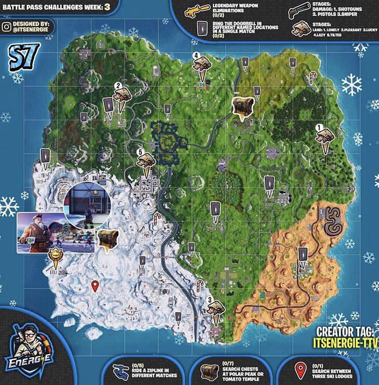 search between three ski lodges