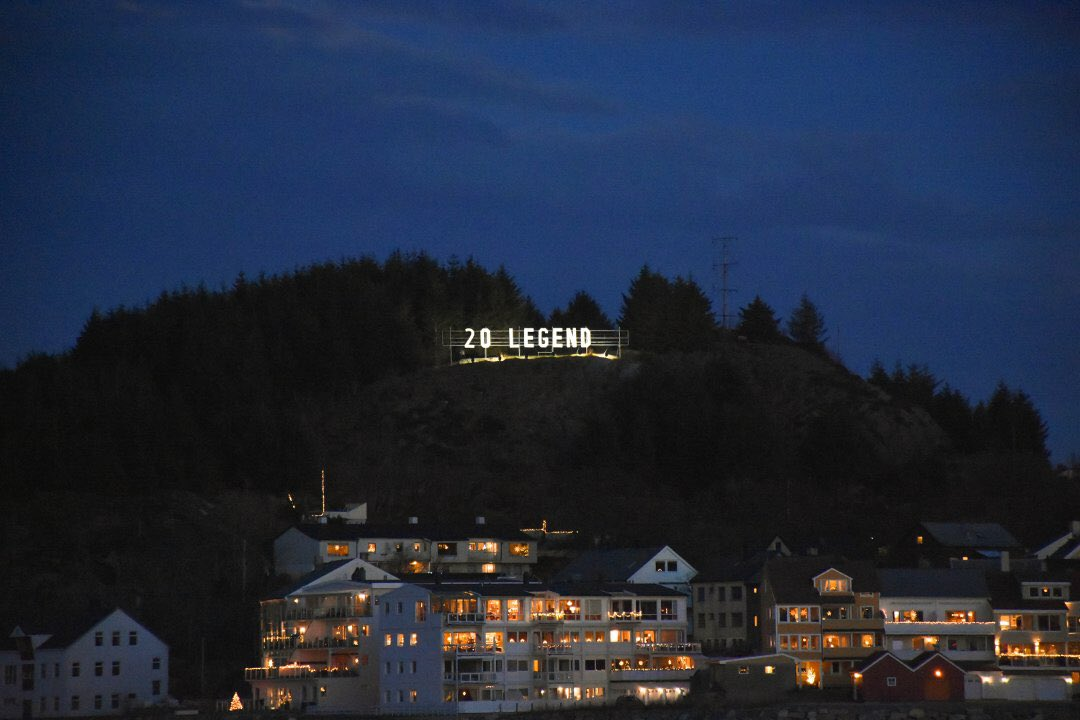 "We have what we call ""the Hollywood sign"" in Kristiansund (Solskjær's) hometown, were they change the letters depending on what's happening in the city that week. This is what it says now 😍 #20Legend"