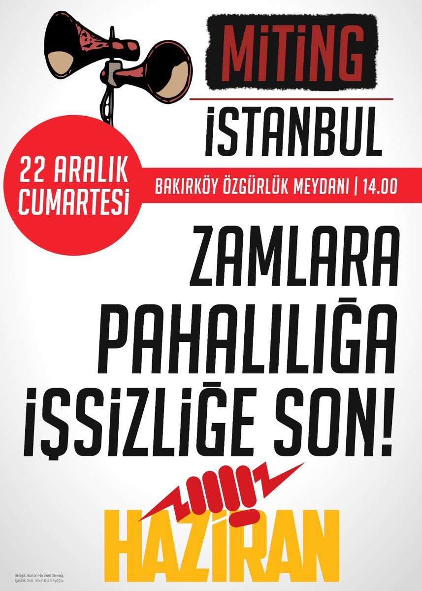 Zamlara,pahalılığa ,işsizliğe ,son ! Bakırköy  Özgürlük Meydanı  saat 14.00 'de  #22AralıktaBakırköydeyiz