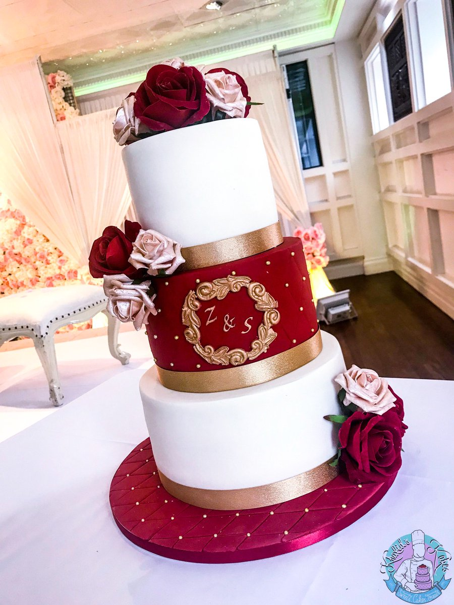 A Simple 3 Tier Weddingcake Made For A Lovley Couple Tiers In Red
