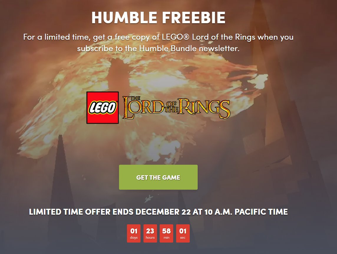 LEGO Lord of the Rings free on Humble https://t.co/hneFOftKSD https://t.co/sr3KoBlV4Y