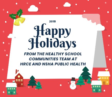 Happy Holidays to all of our friends, families and followers!  Wishing you a safe and healthy holiday season.  From all of us here on the Healthy School Communities team at @HRCE_NS and @NSHAcentral Public Health.