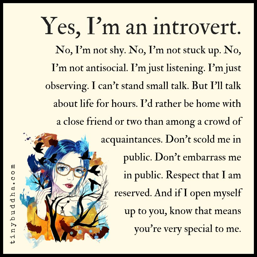 Yes, I am an introvert. No, I'm not shy. No, I'm not stuck up. No, I'm not antisocial. I'm just listening. I'm just observing. I can't stand small talk. But I'll talk about life for hours. I'd rather be home with a close friend or two than among a crowd of acquaintances...