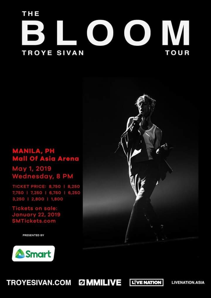 . @troyesivan live at the Mall of Asia Arena on May 1, 2019.  P8750 P8250 P7750 P7250 P6750 P6250 P3250 P2800 P1800  Tickets go on sale January 22, 2019 via http://smtickets.com  and outlets.
