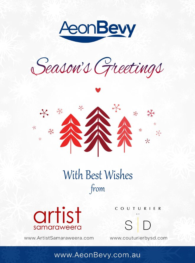 Compliments of the Season...  Wishes for a blessed 2019 from all @AeonBevy   @NawiSamaraweera @CouturierBySD #Xmas2018 #December #Entreprenuer #startup #fashion #fineart #greeting #innovation #design