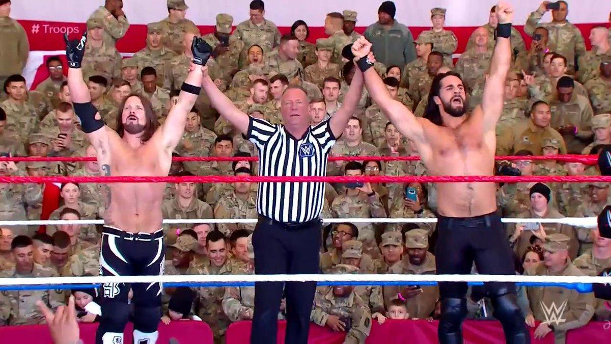 DREAM TEAM. #Troops @WWERollins @AJStylesOrg https://t.co/gl4WBbid40