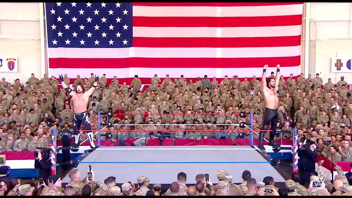 """""""You guys are the TRUE warriors, the TRUE heroes, and we THANK YOU!"""" - @WWERollins #Troops @AJStylesOrg https://t.co/pzdHfweKcZ"""