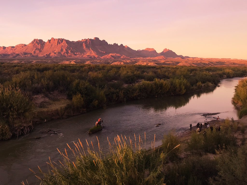 @BetoORourke Looking toward the Chisos at sunset from Loop Camp on the banks of the Rio Grande