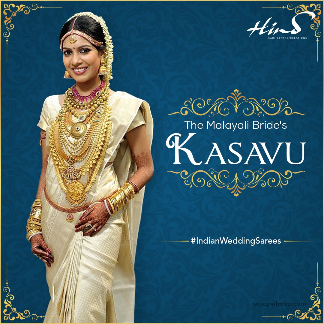 The Malayali Bride S Wedding Look Is One Of A Kind With Iconic Cream And Gold Kasavu Saree An Essential Bridal